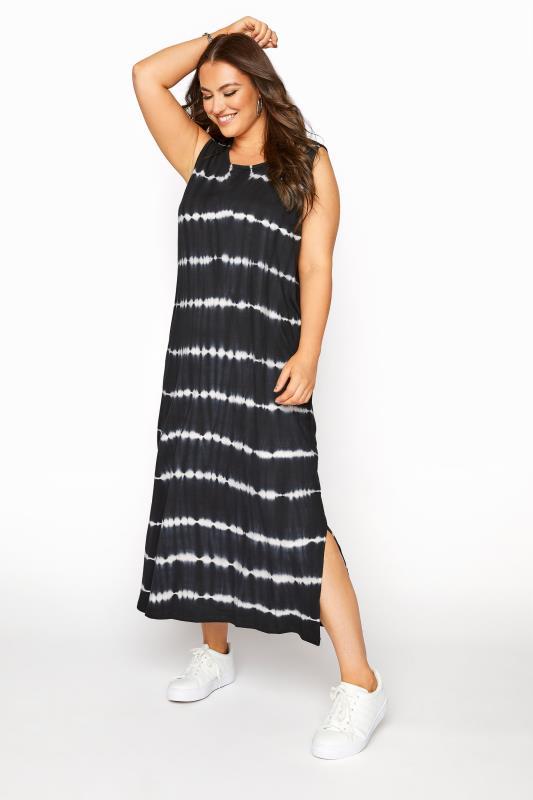Plus Size  Black Tie Dye Maxi Dress