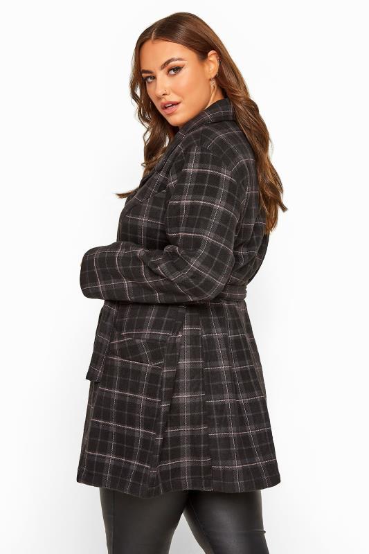 Plus Size Coats Black & Pink Check Revere Collar Coat
