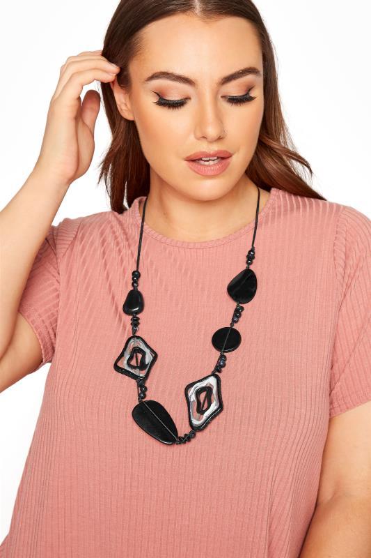 dla puszystych Black Beaded Stone Necklace