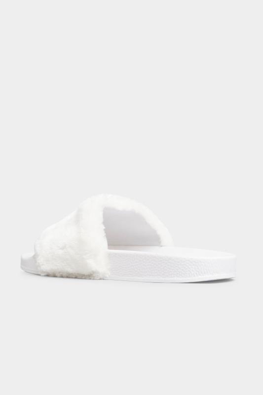 White Vegan Faux Fur Sliders In Regular Fit