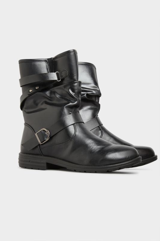 Black Vegan Faux Leather Buckle Detail Boots In Wide Fit_Shoes-202100015.jpg
