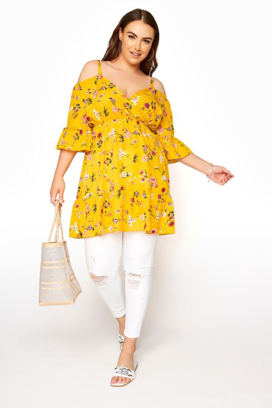 Yellow Floral Cold Shoulder Frill Top_B.jpg