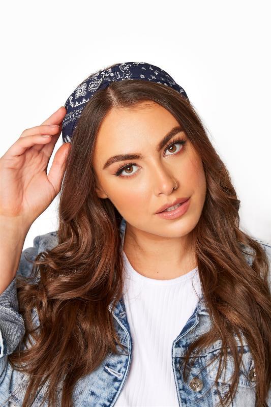 Plus Size  Navy Bandana Print Headband