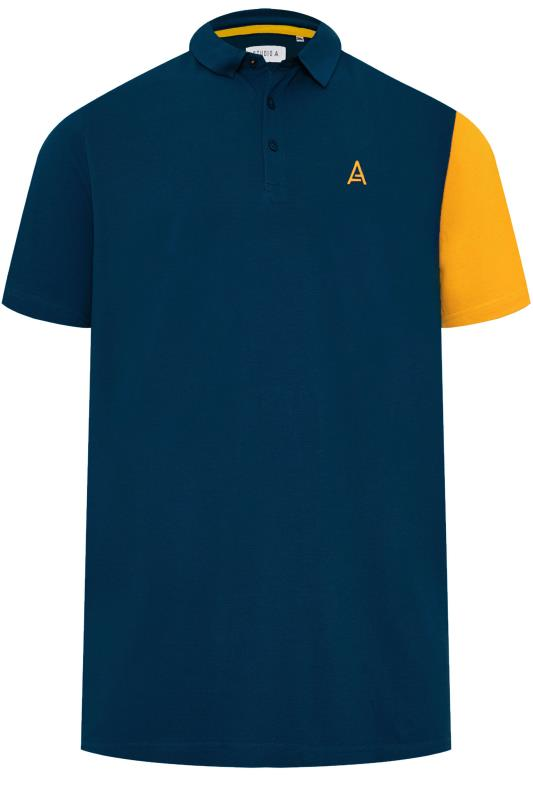 Plus Size Polo Shirts STUDIO A Navy & Yellow Colour Block Polo Shirt