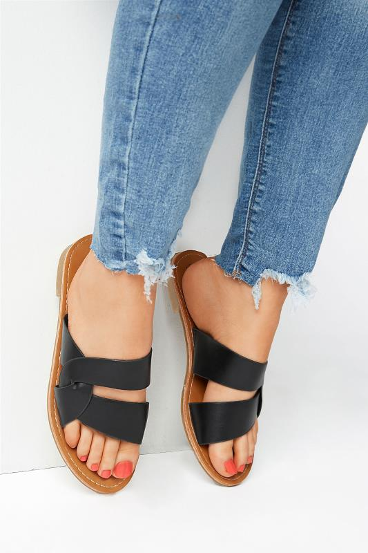 Yours Black Twist Strap Mules In Wide Fit