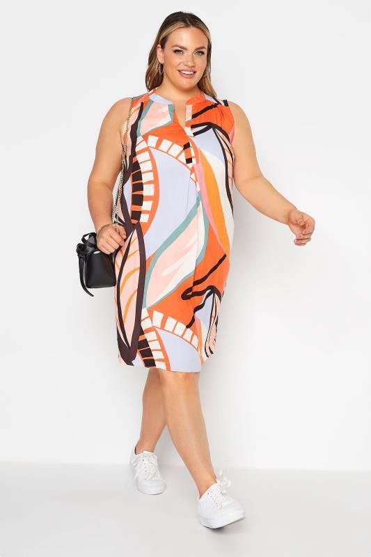 Orange Abstract Midi Dress_B.jpg