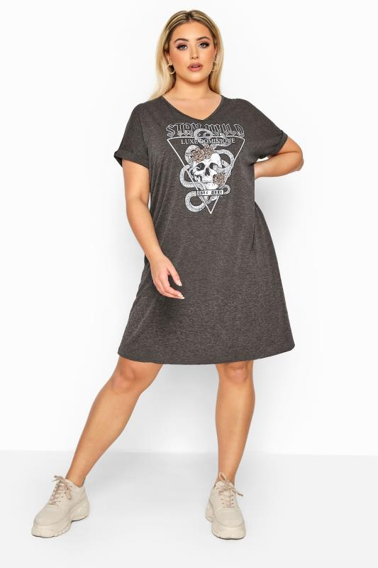 Sleeved Dresses LIMITED COLLECTION Charcoal Grey Foil Skull 'Stay Wild' T-Shirt Dress