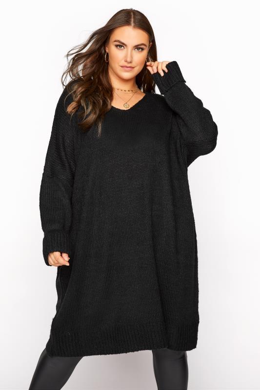 Plus Size  Black Drop Sleeve Knitted Jumper Dress