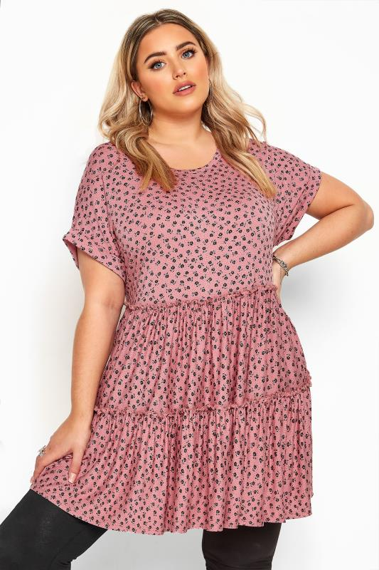 Plus Size Tunics Pink Ditsy Floral Peplum Smock Tunic