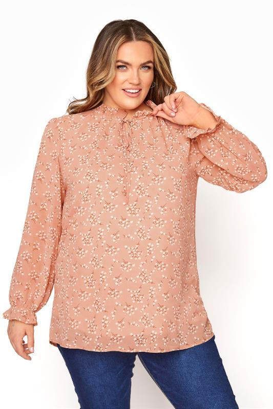 Plus Size  YOURS LONDON Pink Floral Ruffle Collar Blouse
