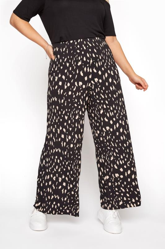 Plus Size  LIMITED COLLECTION Black Wide Leg Animal Marking Trousers