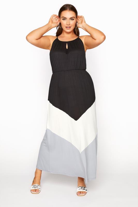 Plus Size  Black Colour Block Maxi Dress