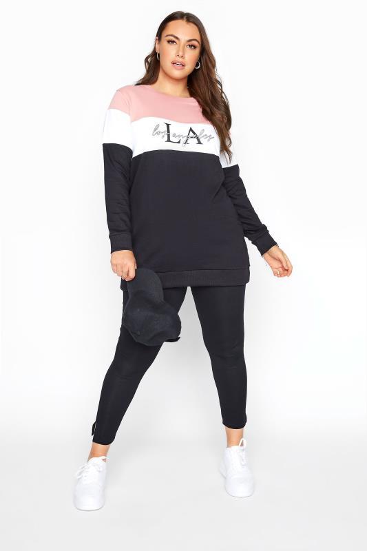 Pink & Black 'LA' Slogan Colourblock Sweatshirt