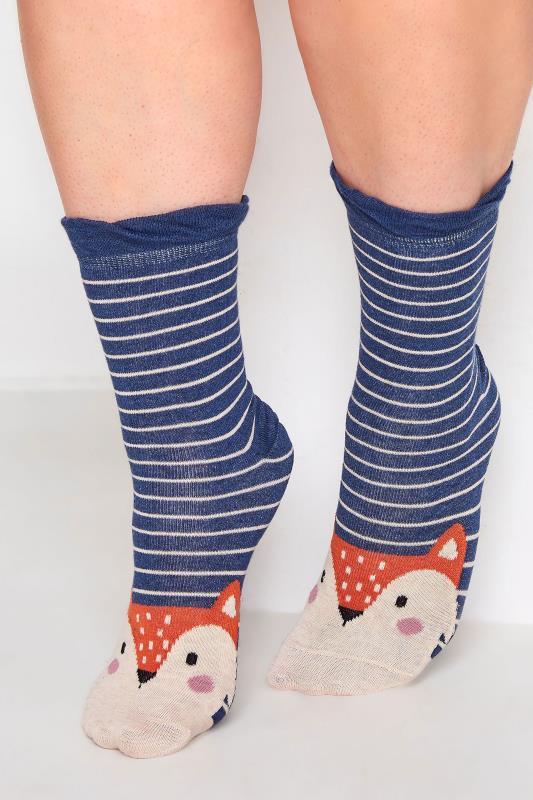 Plus Size  4 PACK Blue Woodland Animal Ankle Socks