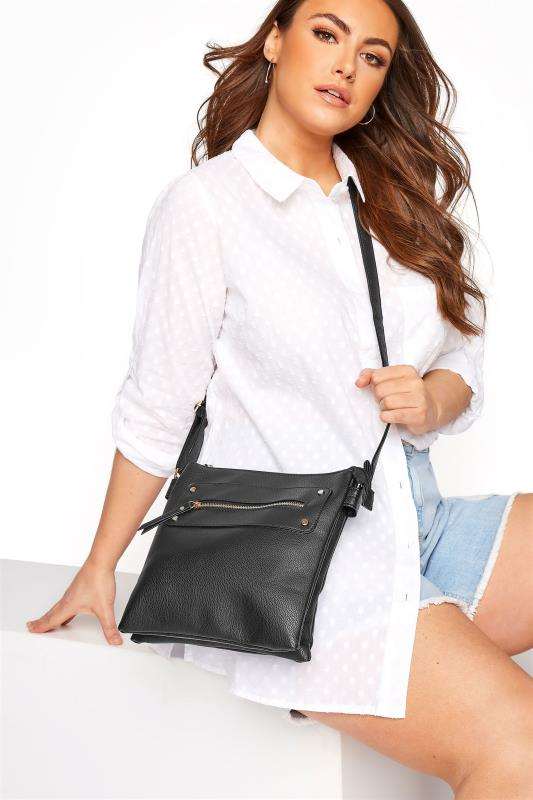 dla puszystych Black Dual Zip Cross Body Bag