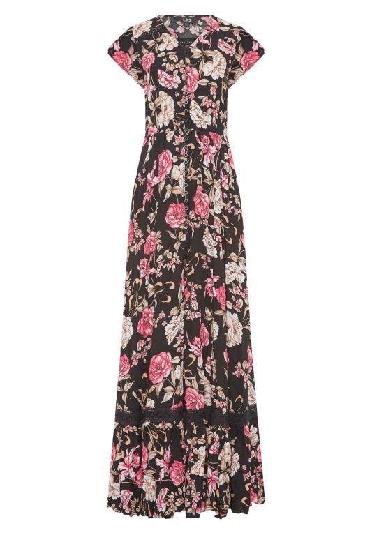 LTS Black Floral V-Neck Frill Hem Maxi Dress_f.jpg