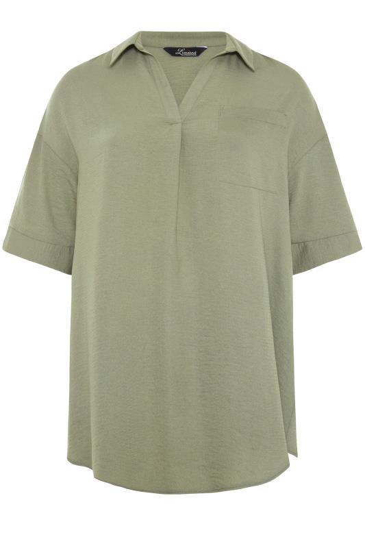 THE LIMITED EDIT Olive Green Pleated Front Top_F.jpg