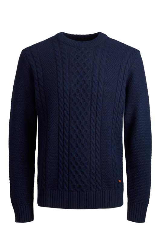 Casual / Every Day dla puszystych JACK & JONES Navy Crew Neck Knitted Jumper