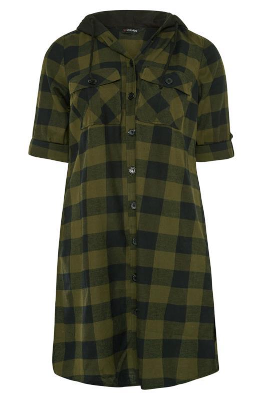Khaki Checked Hooded Longline Shirt_F.jpg
