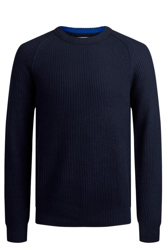 JACK & JONES Navy Knitted Crew Neck Jumper