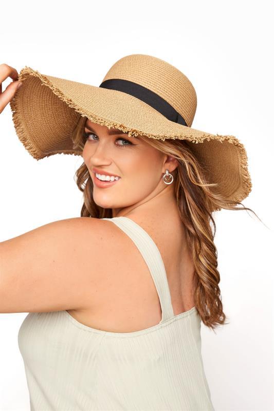Plus Size  Brown Frayed Edge Straw Hat