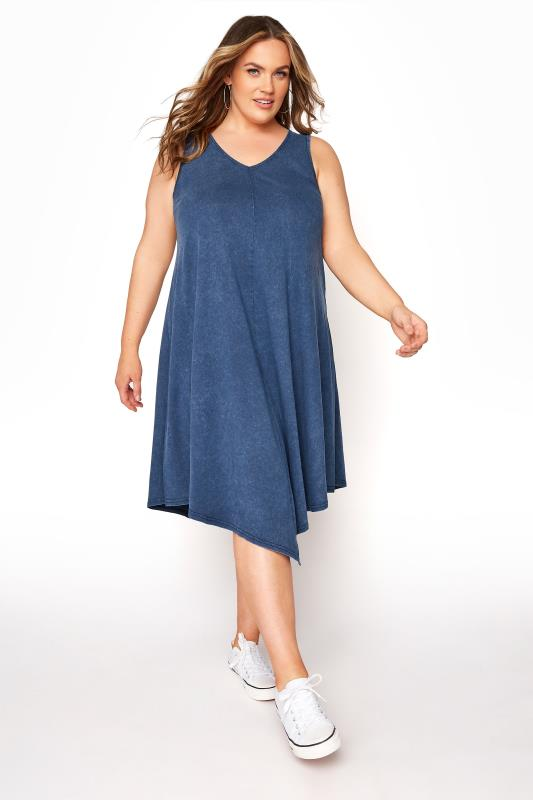 Plus Size  Blue Acid Wash Hanky Hem Sleeveless Dress