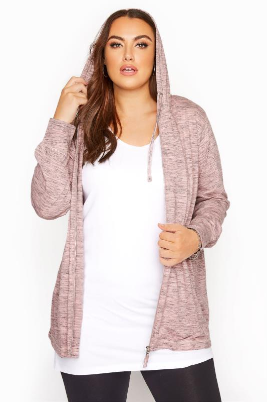 Plus Size  Pink Space Dye Zip Through Hoodie