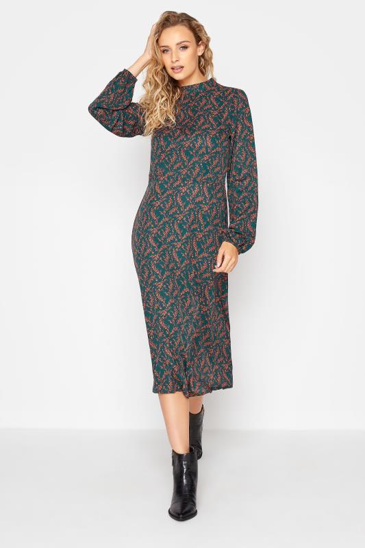 Tall  LTS Green Floral Print Fit & Flare Midaxi Dress