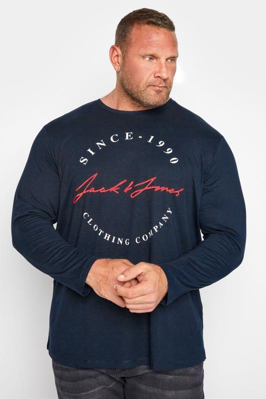 Men's  JACK & JONES Navy Herro Long Sleeve T-Shirt