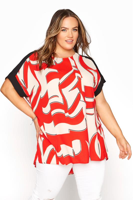 Plus Size  Red Abstract Dipped Hem Tunic Top