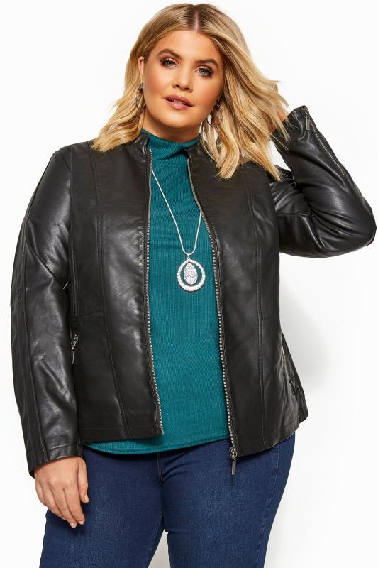 Plus Size Leather Look Jackets Black Collarless PU Leather Jacket