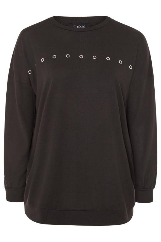 Black Eyelet Drop Shoulder Sweatshirt