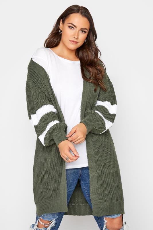 Großen Größen  Khaki Varsity Stripes Knitted Cardigan