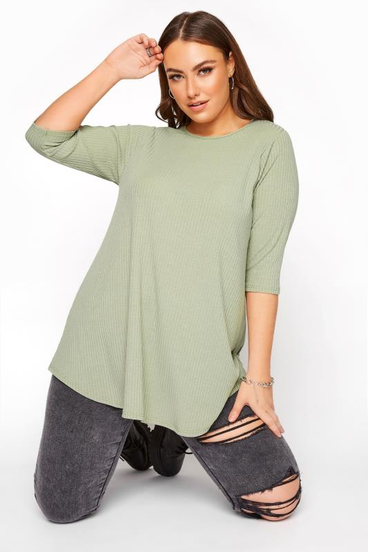 Plus Size  LIMITED COLLECTION Sage Green Ribbed Swing 3/4 Length Top