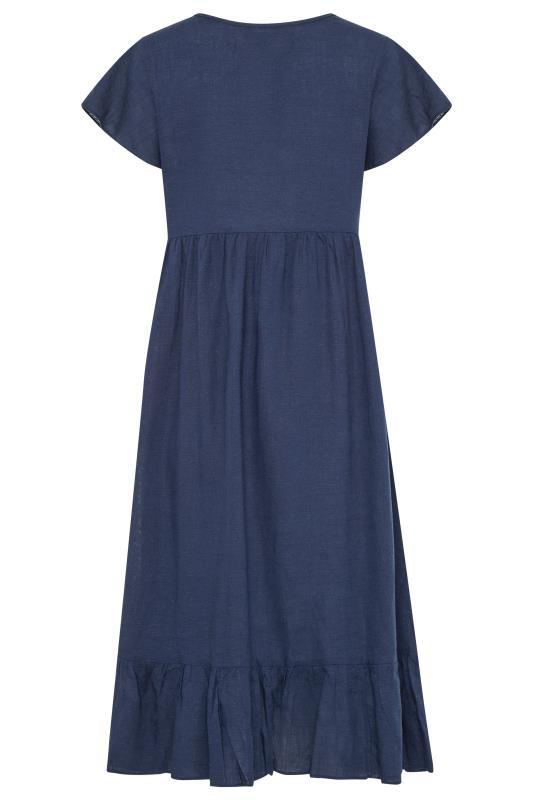 LTS Maternity Navy Linen-blend Dress_BK.jpg