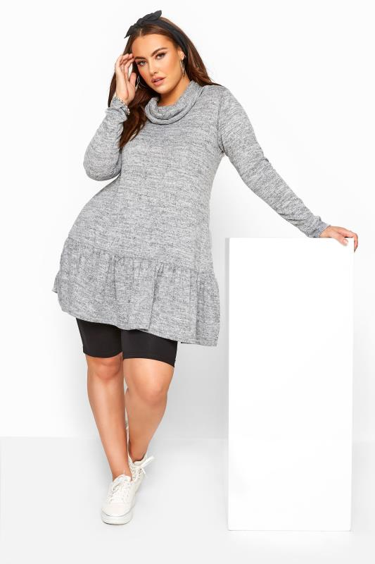 Plus Size Tunics Grey Marl Peplum Tunic
