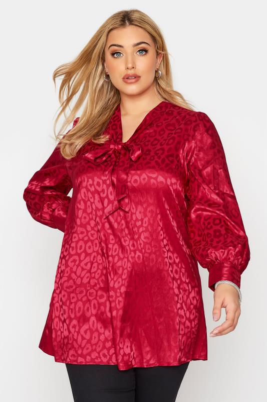 Plus Size  YOURS LONDON Red Satin Animal Bow Blouse