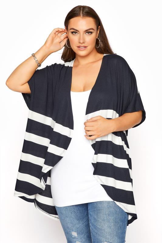 Plus Size  Navy Stripe Waterfall Front Cardigan