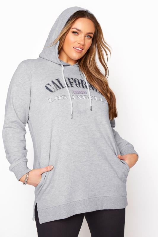 Plus Size  Grey California Slogan Longline Hoodie