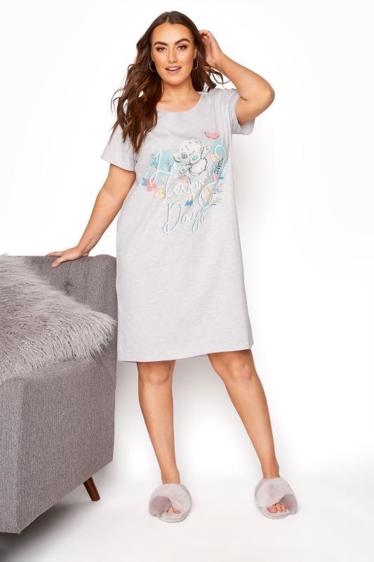 Plus Size  Grey Tatty Teddy 'Happy Days' Slogan Nightdress