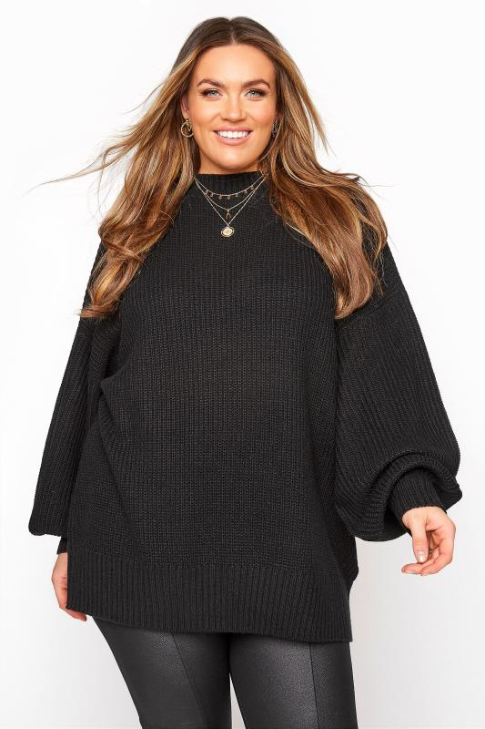 Plus Size  Black Oversized Balloon Sleeve Knitted Jumper