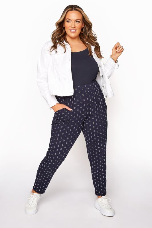 Plus Size  Navy Deco Diamond Pleated Harem Trousers