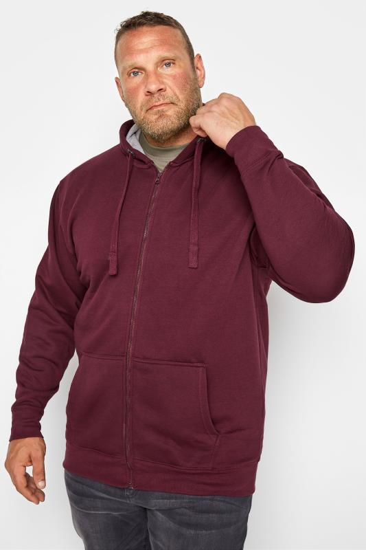 Men's Hoodies KAM Burgundy Zip Through Hoodie