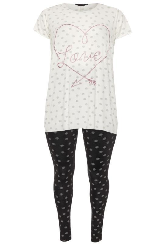 White & Black Spot Glitter Slogan Pyjama Legging Set
