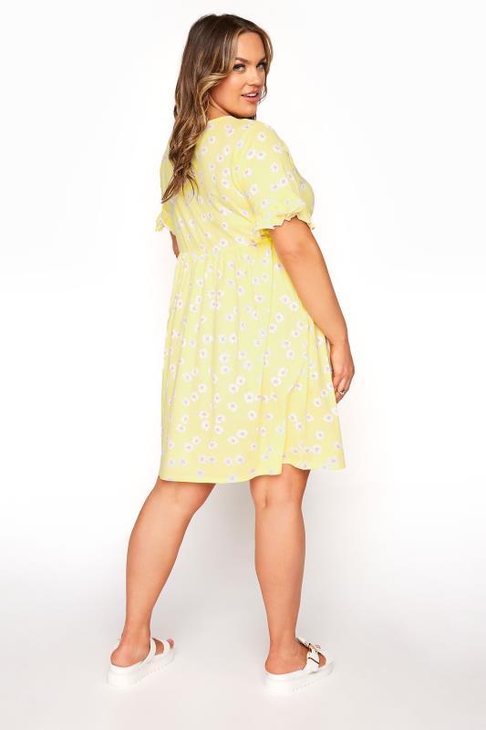 Lemon Yellow Floral Print Short Frill Sleeve Dress_C.jpg