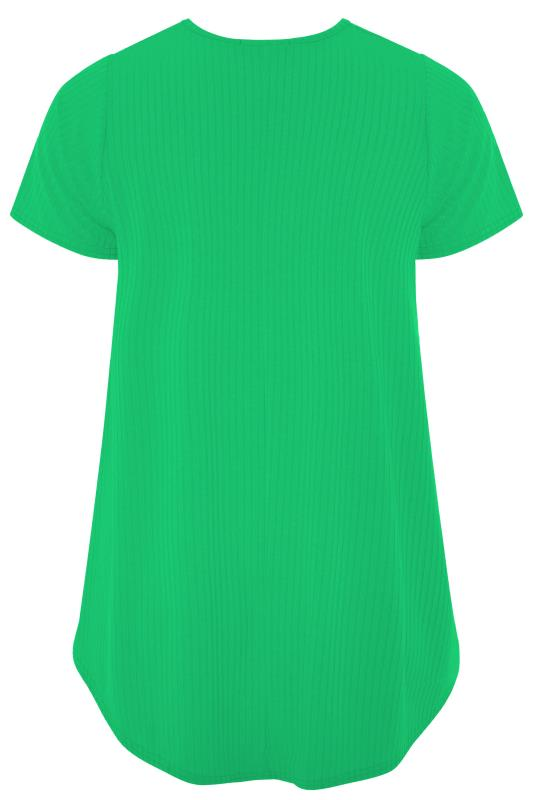 LIMITED COLLECTION Emerald Green Ribbed Short Sleeve T-Shirt_BK.jpg