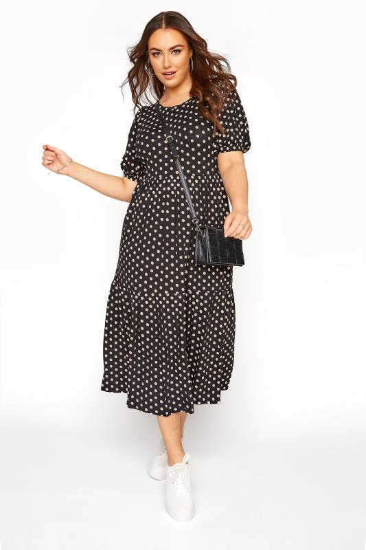 Plus Size  Black Puff Sleeve Polka Dot Midaxi Dress