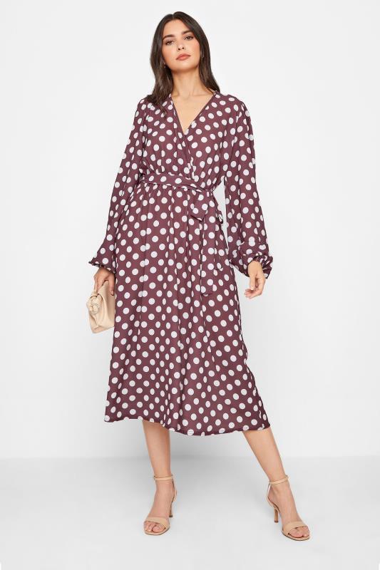 LTS Brown Polka Dot Wrap Midi Dress_A.jpg