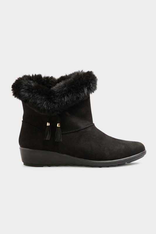 Black Bow Trim Wedge Boots in Extra Wide Fit_B.jpg