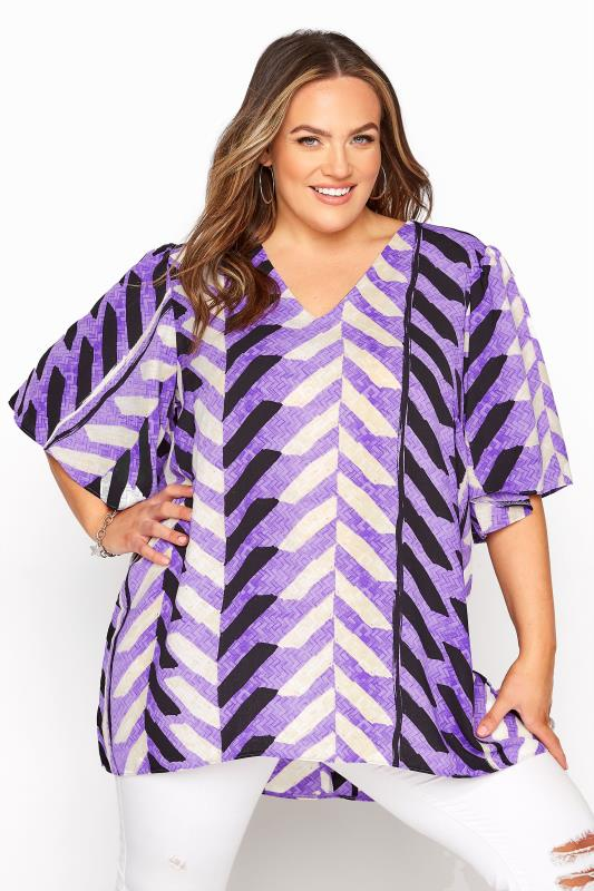 Großen Größen  Purple Wide Sleeve Dip Back Top